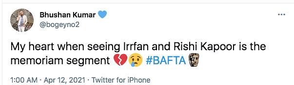 BAFTAs Honours Irrfan Khan, Rishi Kapoor in 'In Memorium' Segment