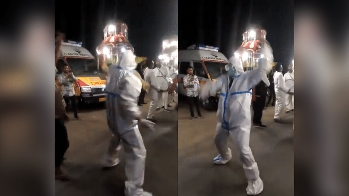 "<div class=""paragraphs""><p>Ambulance driver Mahesh dancing in a baraat at Uttarakhand</p></div>"