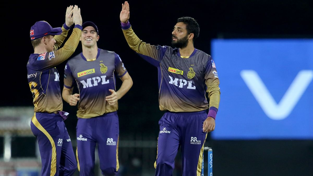 Kolkata Knight Riders players celebrates the wicket of Quinton de Kock of Mumbai Indians during match 5 of the Vivo Indian Premier League 2021 between the Kolkata Knight Riders and the Mumbai Indians held at the M. A. Chidambaram Stadium, Chennai on the 13th April 2021.