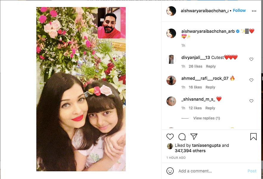 Aishwarya Shares Pic of Her & Abhishek's Virtual Anniversary Party
