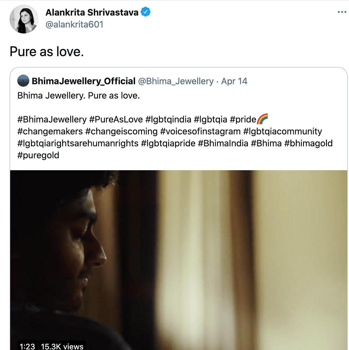 "<div class=""paragraphs""><p>Alankrita Srivastava reacts to Bhima Jewellery ad on transwoman.</p></div>"