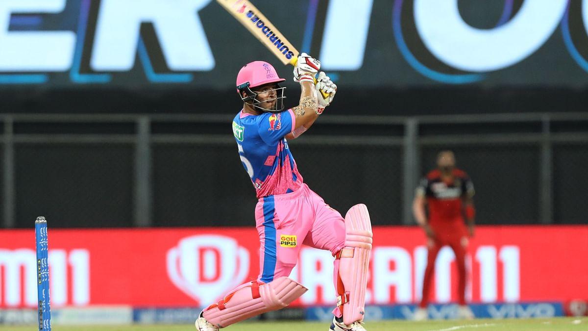 Riyan Parag batting against RCB in Mumbai.