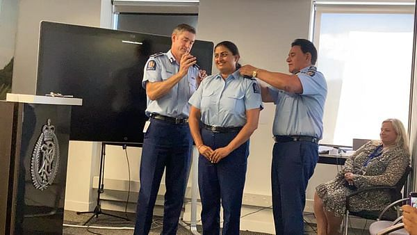 """<div class=""""paragraphs""""><p>Mandeep Kaur being promoted to Senior Sergeant of Police in Wellington, NZ</p></div>"""