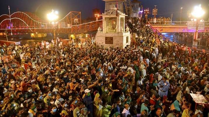 Devotees took a holy dip again at the Har ki Pauri ghat in Uttarakhand's Haridwar on the occasion of the third 'Shahi Snan' .