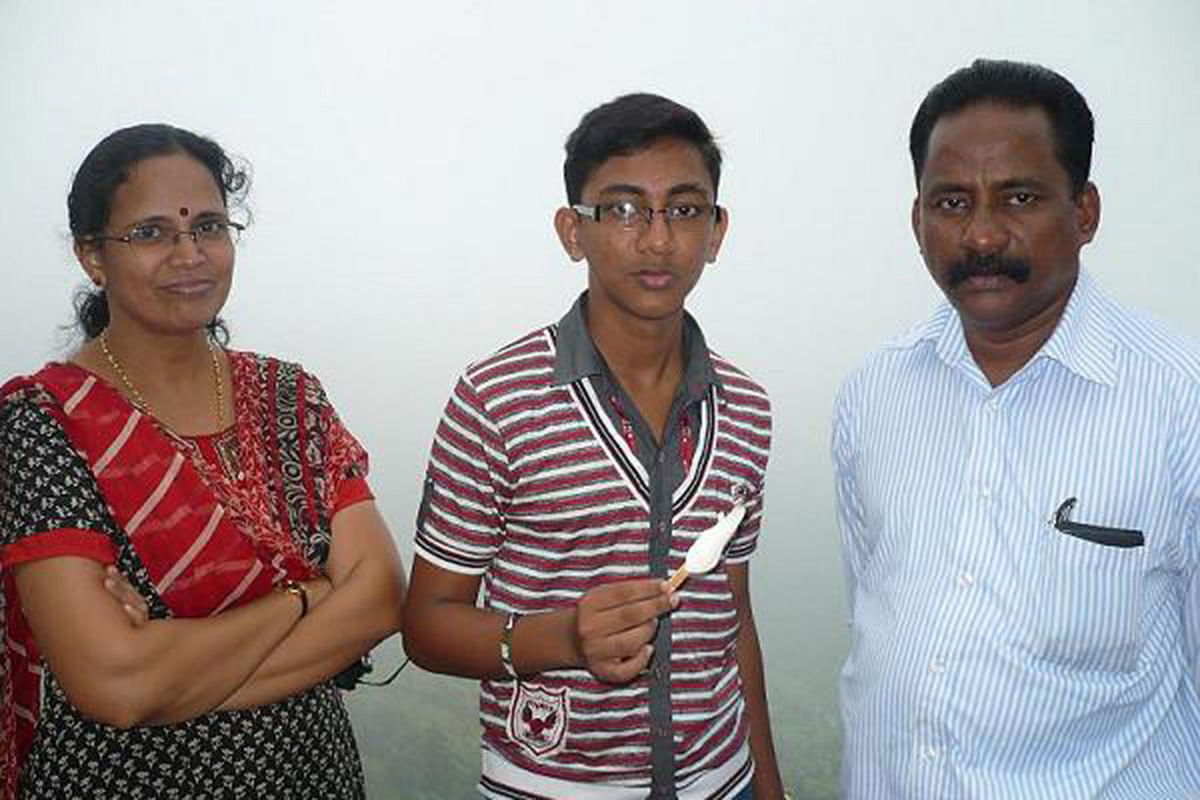TP Chandrasekharan with KK Rema and their son Abhinand.