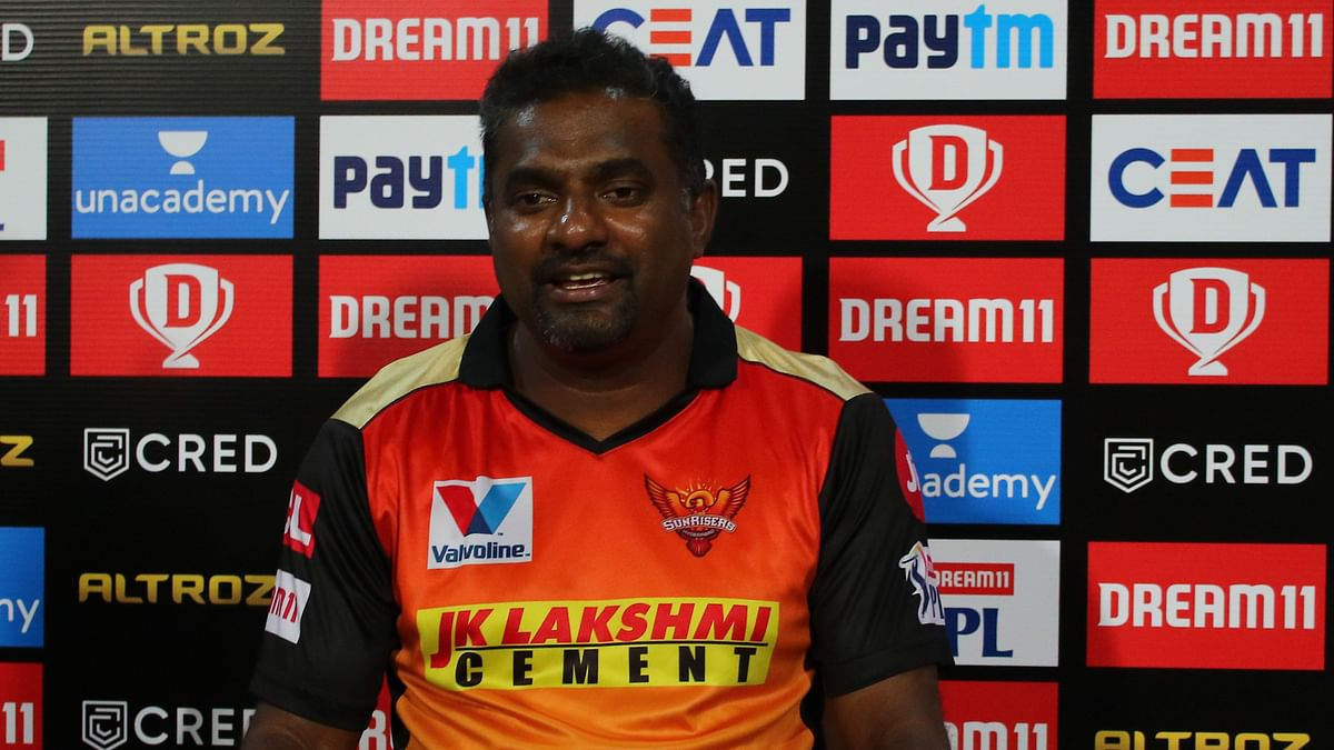 Muttiah Muralitharan during a press conference in IPL 2020