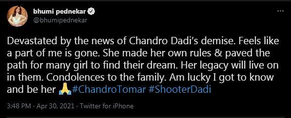 'Shooter Dadi' Dies Aged 89; Bhumi and Taapsee Express Condolences
