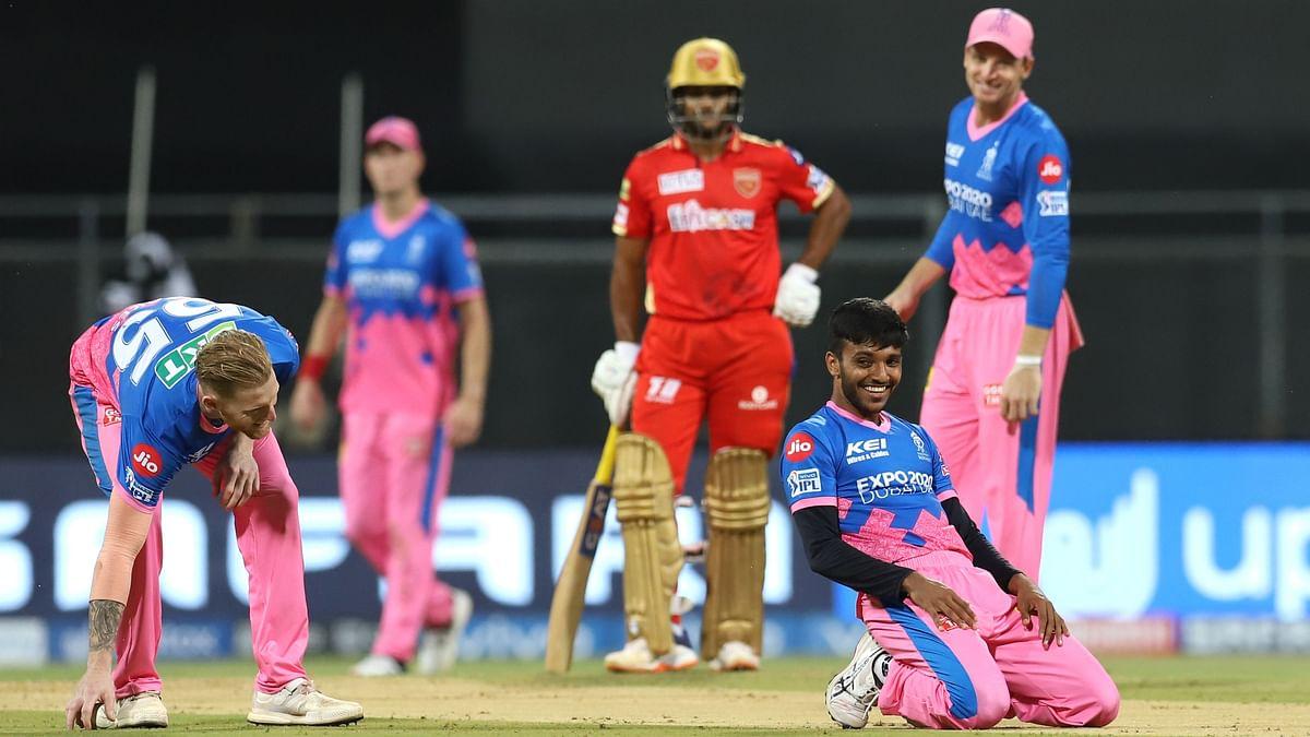 Chetan Sakariya celebrates a wicket on debut against Punjab Kings.