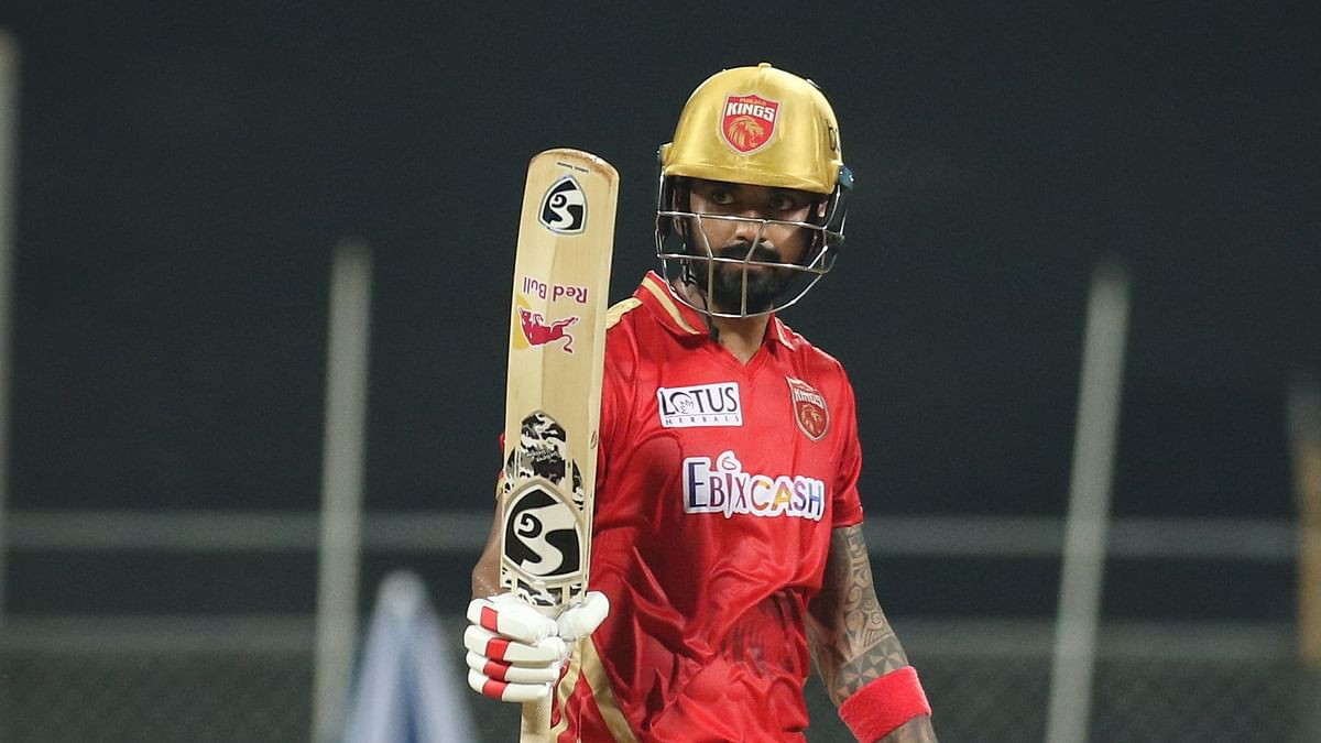 KL Rahul captain of Punjab Kings raises his bat after scoring a fifty during match 11 of the Vivo Indian Premier League 2021 between the Delhi Capitals