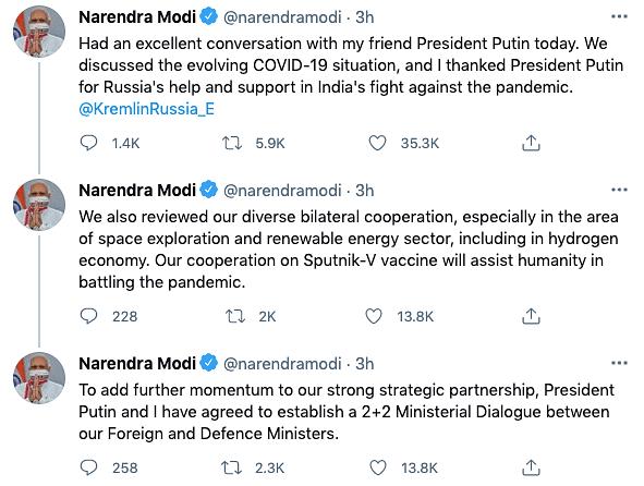 'Excellent Conversation': PM Modi Thanks Putin for Help Amid COVID