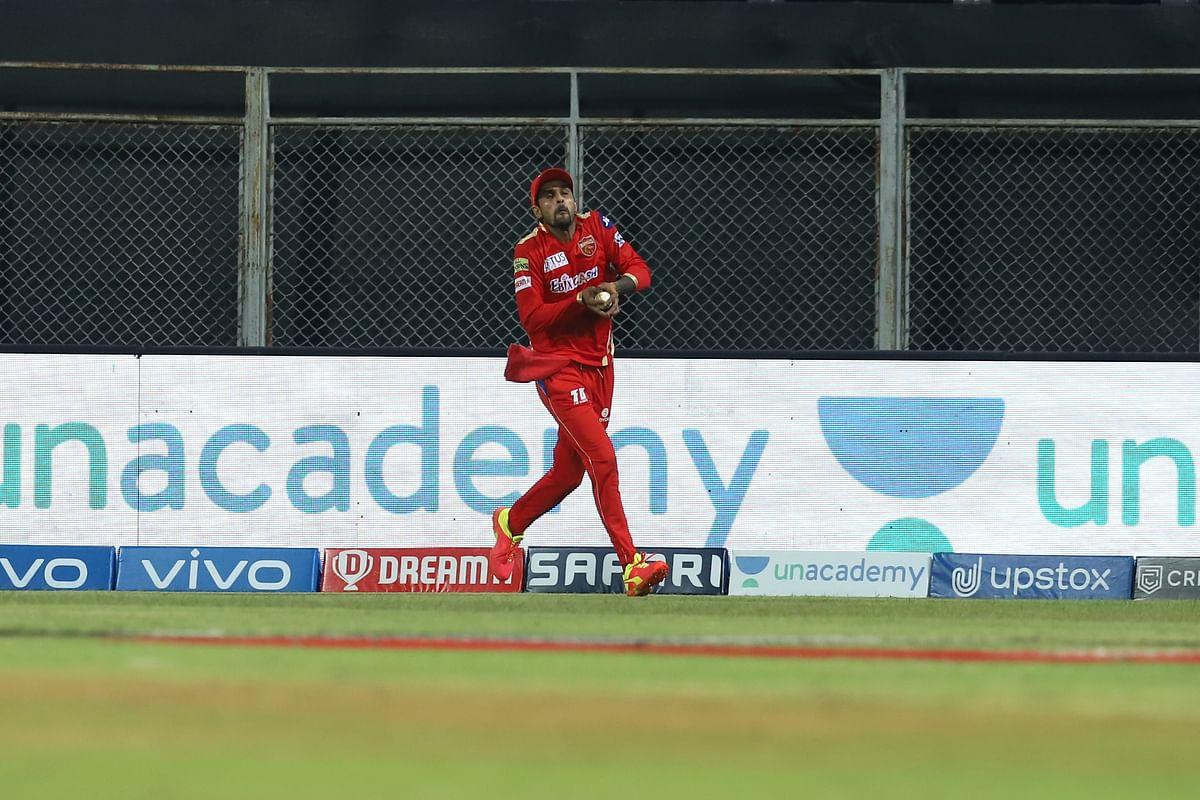 Sanju Samson captain of Rajasthan Royals caught by Deepak Hooda of Punjab Kings during match 4 of the Vivo Indian Premier League 2021.