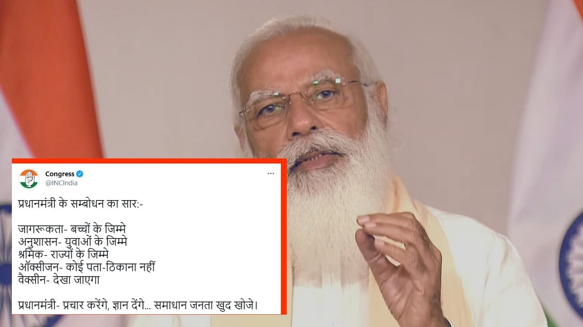 """The Congress and the Aam Aadmi Party (AAP) have reacted sharply to <a href=""""https://www.thequint.com/coronavirus/covid-19-surge-pm-modi-addresses-the-nation"""">Prime Minister Narendra Modi</a>'s address to the nation on the COVID-19 situation on Tuesday, 20 April."""