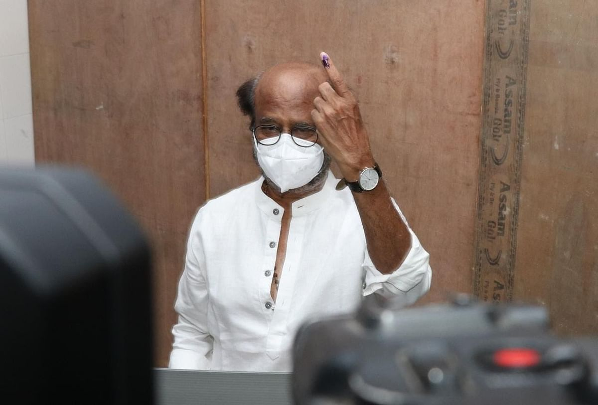Superstar Rajinikanth casts his vote.