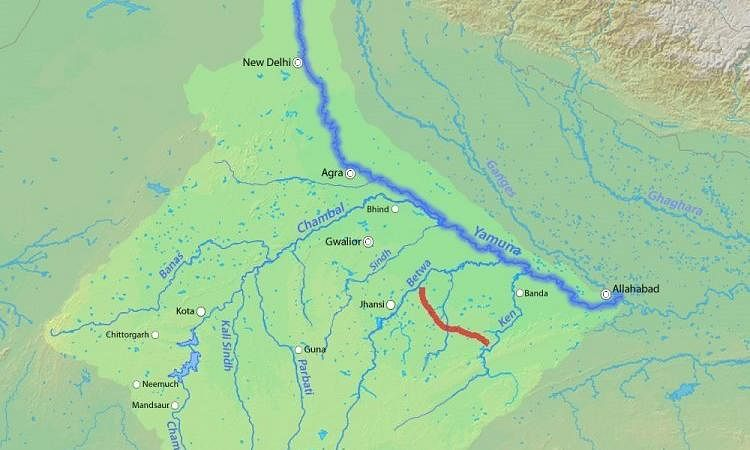 Ken-Betwa river link shown on a map.