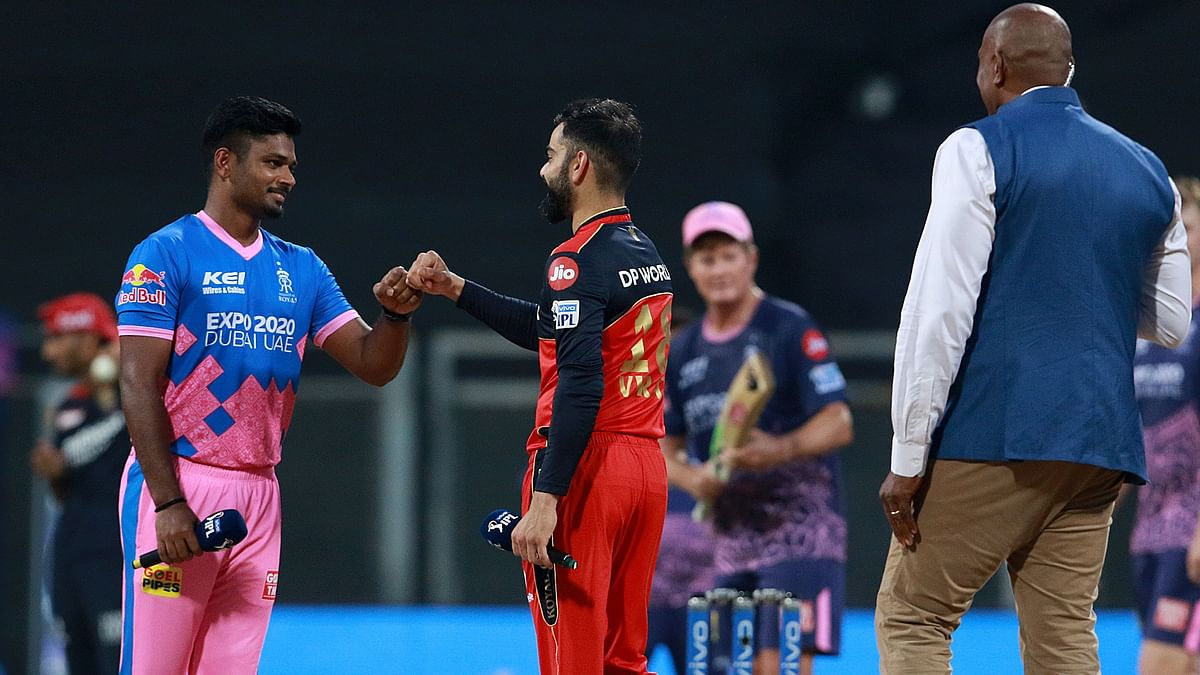 Sanju Samson and Virat Kohli at the toss in Mumbai.