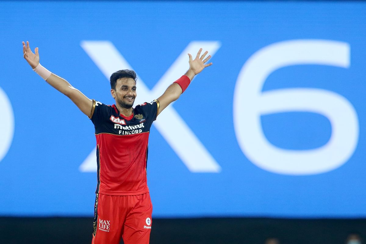 Harshal Patel of Royal Challengers Bangalore celebrates the wicket of Macro Jansen of Mumbai Indians during match 1 of the Vivo Indian Premier League 2021.