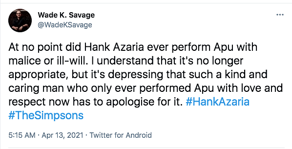 Hank Azaria Apologises For Voicing Apu in 'The Simpsons'