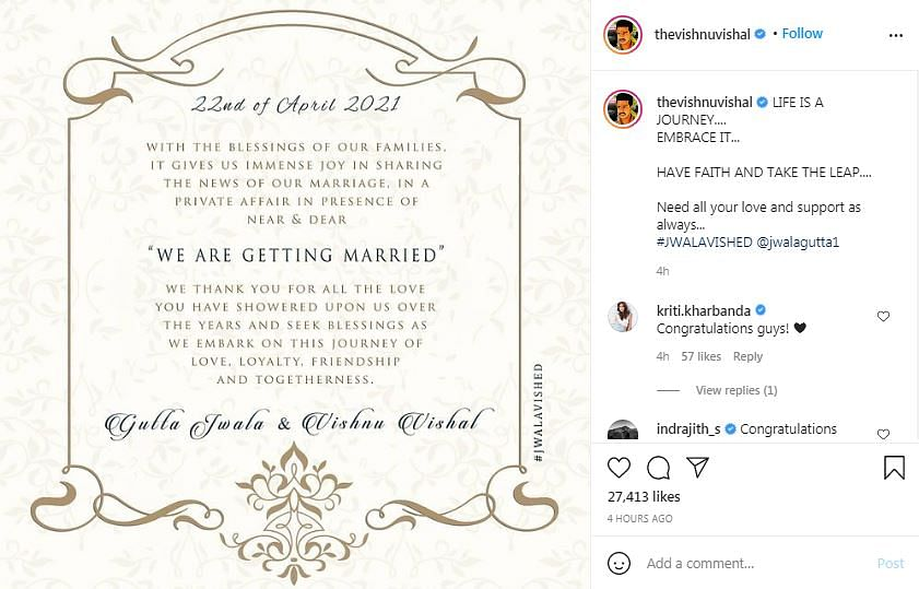 Vishnu Vishal and Jwala Gutta Announce Official Wedding Date
