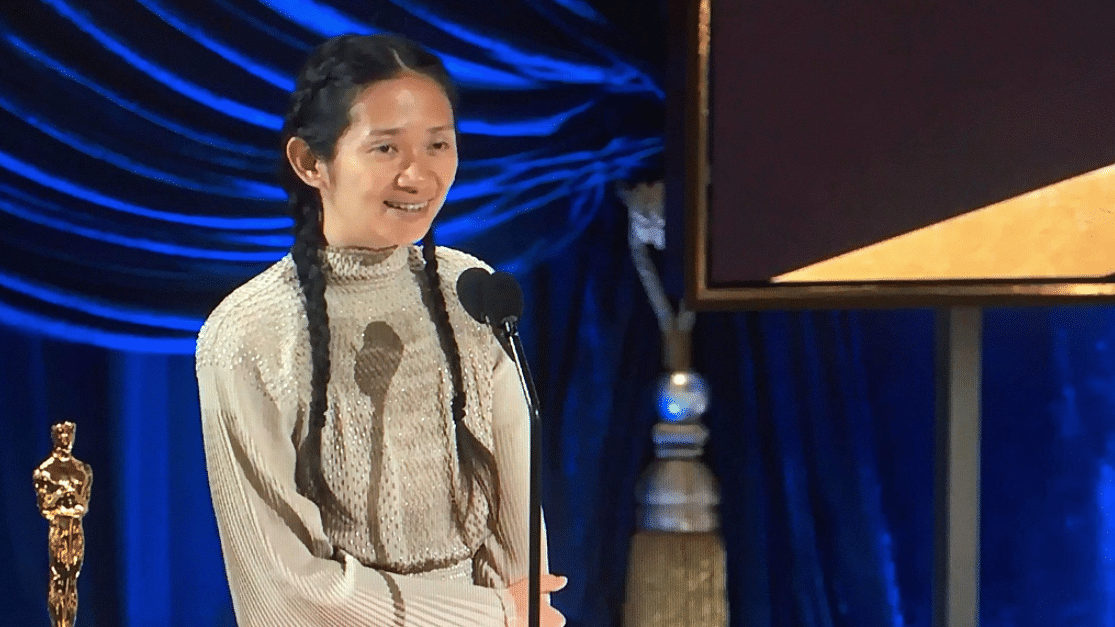 Chloé Zhao wins Best Director at the 93rd Academy Awards for <i>Nomadland.</i>