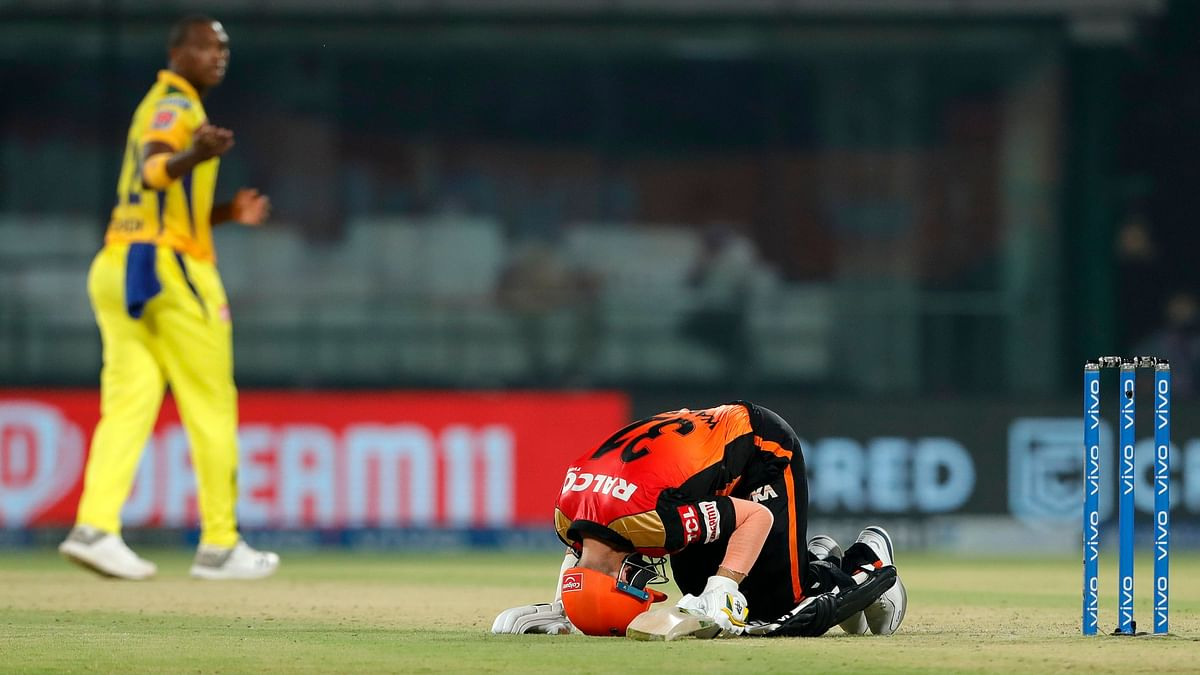 David Warner reacts during the game against CSK.