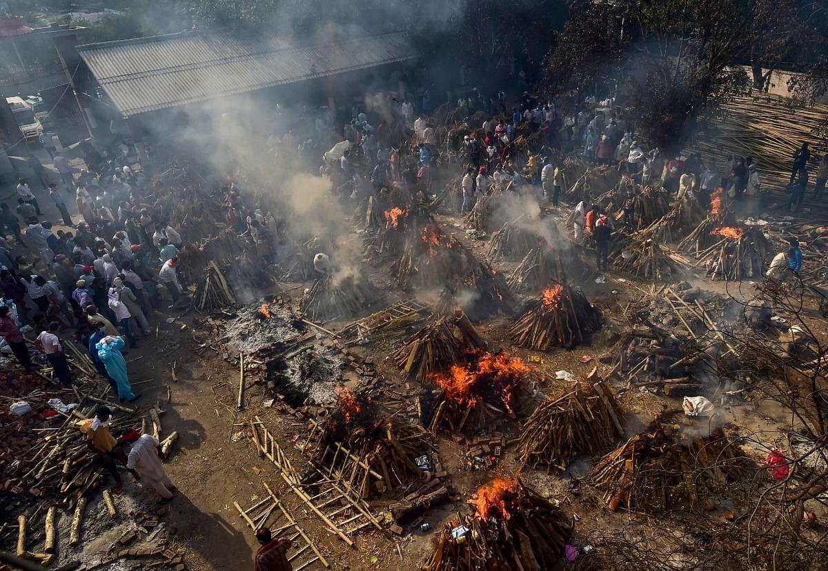 COVID cremation ground in New Delhi.