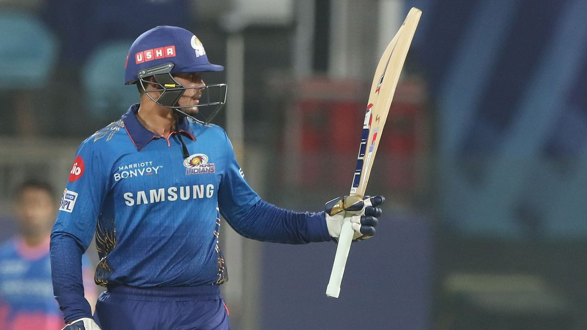 Quinton de Kock after scoring a half century against Rajasthan Royals.