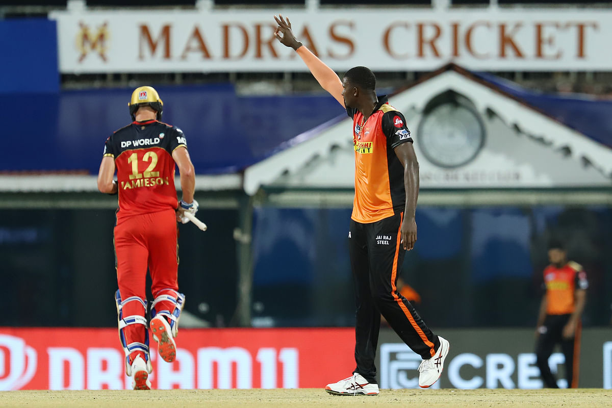 Jason Holder of Sunrisers Hyderabad celebrates the wicket of Kyle Jamieson of Royal Challengers Bangalore during match 6 of the Vivo Indian Premier League 2021.
