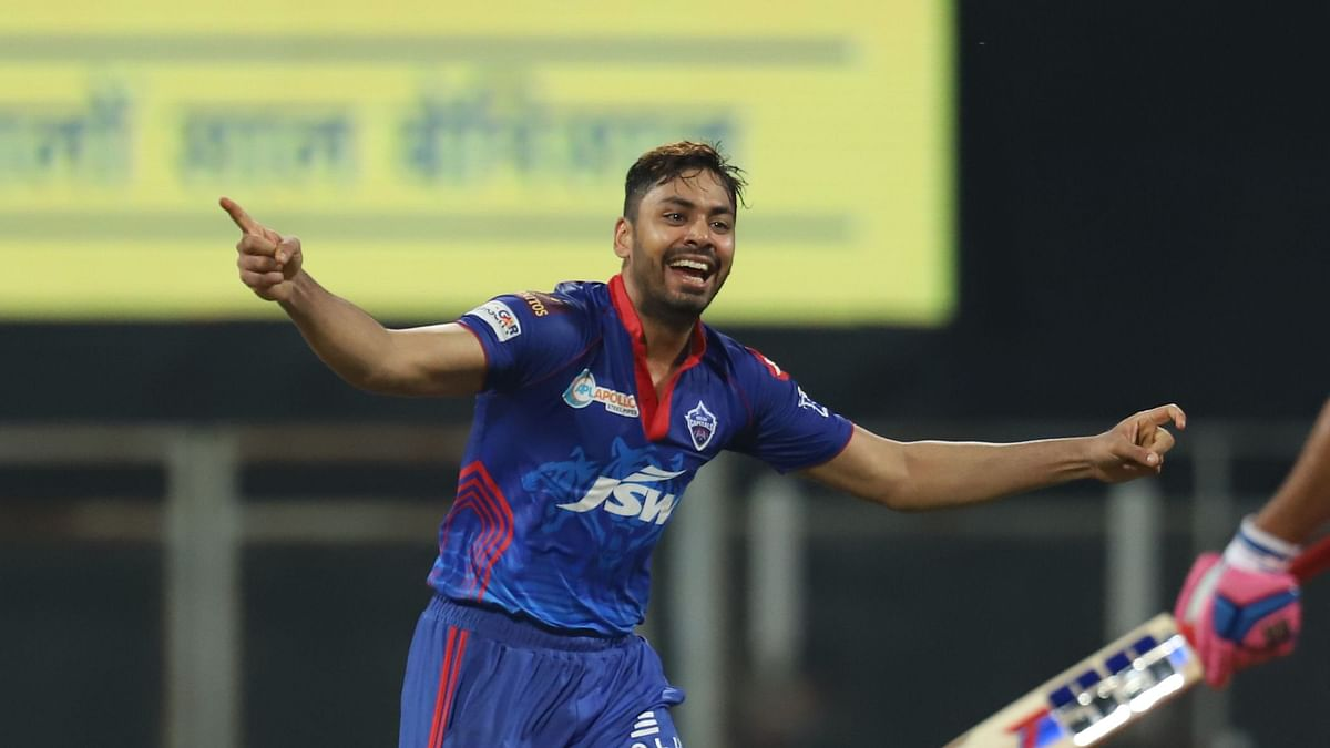 Avesh Khan of Delhi Capitals celebrates the wicket of Shivam Dube of Rajasthan Royals during match 7 of the Vivo Indian Premier League 2021.