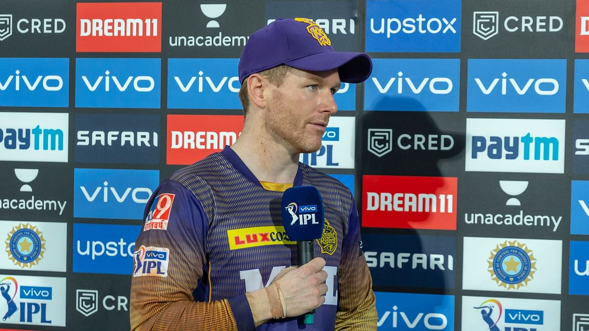 KKR captain Eoin Morgan speaking to the broadcasters after defeat to MI