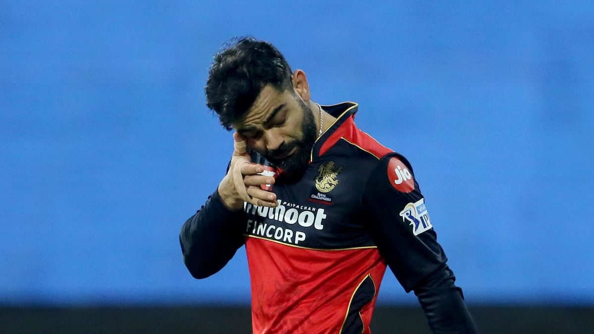 Virat Kohli got hit under his eye while fielding in IPL 2021's season-opener against Mumbai Indians.