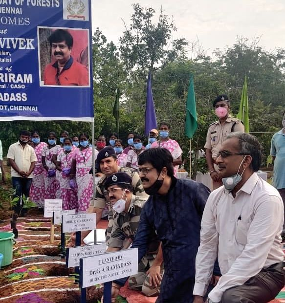 On 21 March 2021, actor Vivek planted 1,500 saplings for a <i>myawaki</i> forest as part of the 'Green Kalam' initiative at the campus of NIOT.