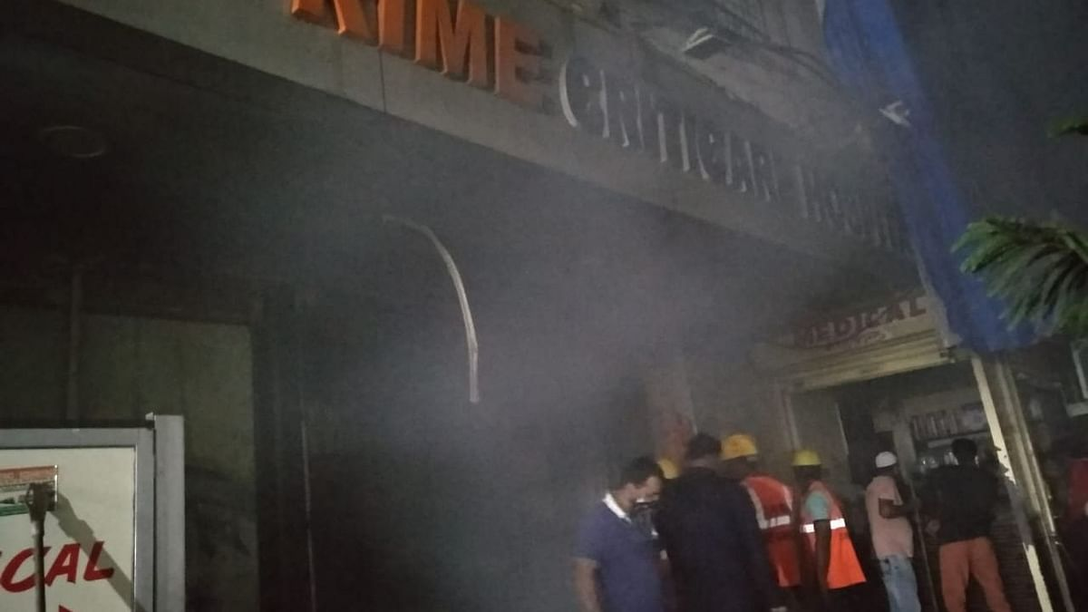 The fire rages at Prime Criticare Hospital in Mumbra, Thane, at 3.40 am on Wednesday, 28 April.