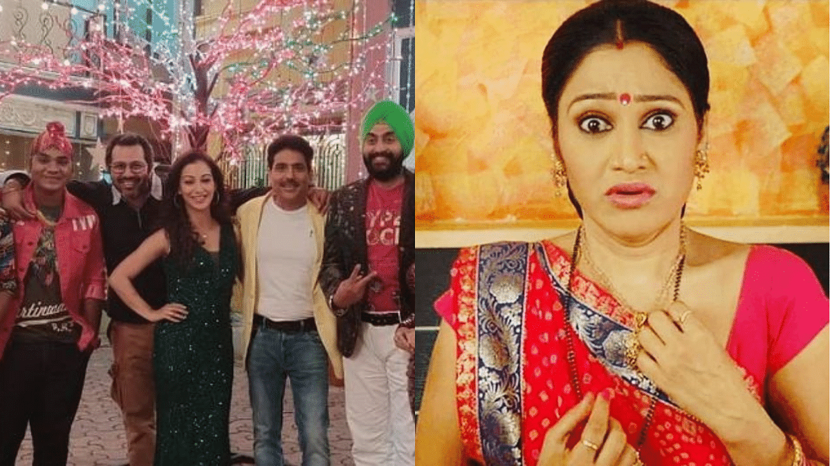 "<div class=""paragraphs""><p>Director Malav Rajda with the cast of TMKOC; Disha Vakani as Daya</p></div>"