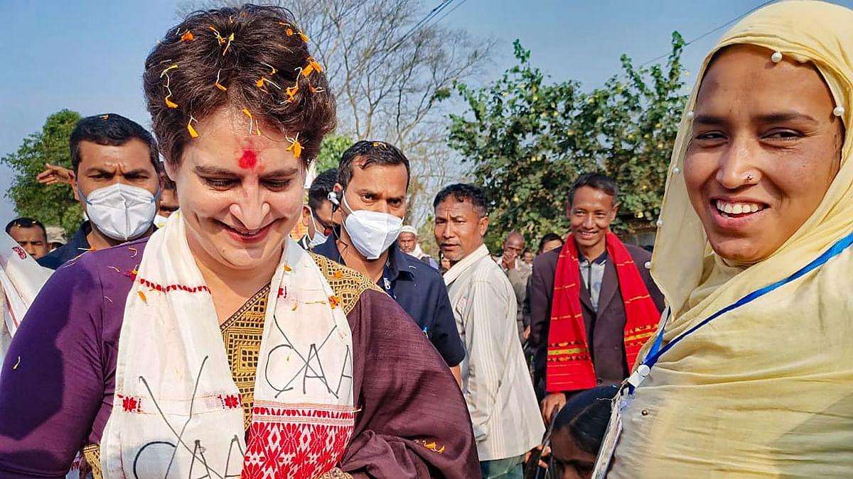 All India Congress Committee (AICC) General Secretary Priyanka Gandhi Vadra interacts with locals during her visit to Assam.