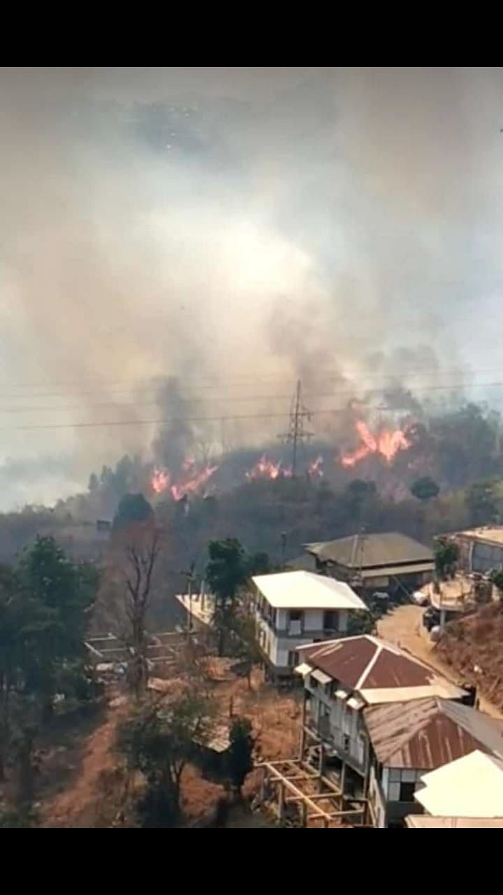 the fire started in the uninhabited forest areas surrounding Lunglei town on Saturday, and by Sunday, had spread to over 10 adjoining village council areas.