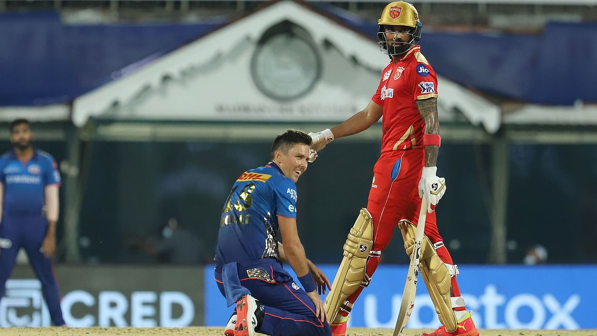 KL Rahul watches on after hitting a boundary off Trent Boult