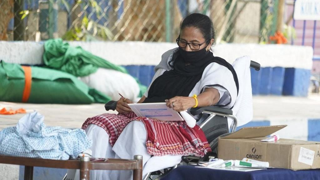 West Bengal Chief Minister Mamata Banerjee on Tuesday, 13 April, began a dharna at Gandhi Murti in Kolkata.