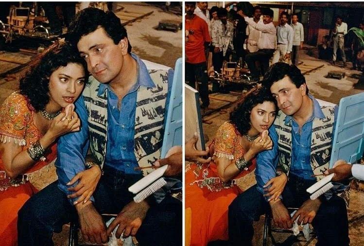 "<div class=""paragraphs""><p>Juhi Chawla and Rishi Kapoor on a film set.</p></div>"