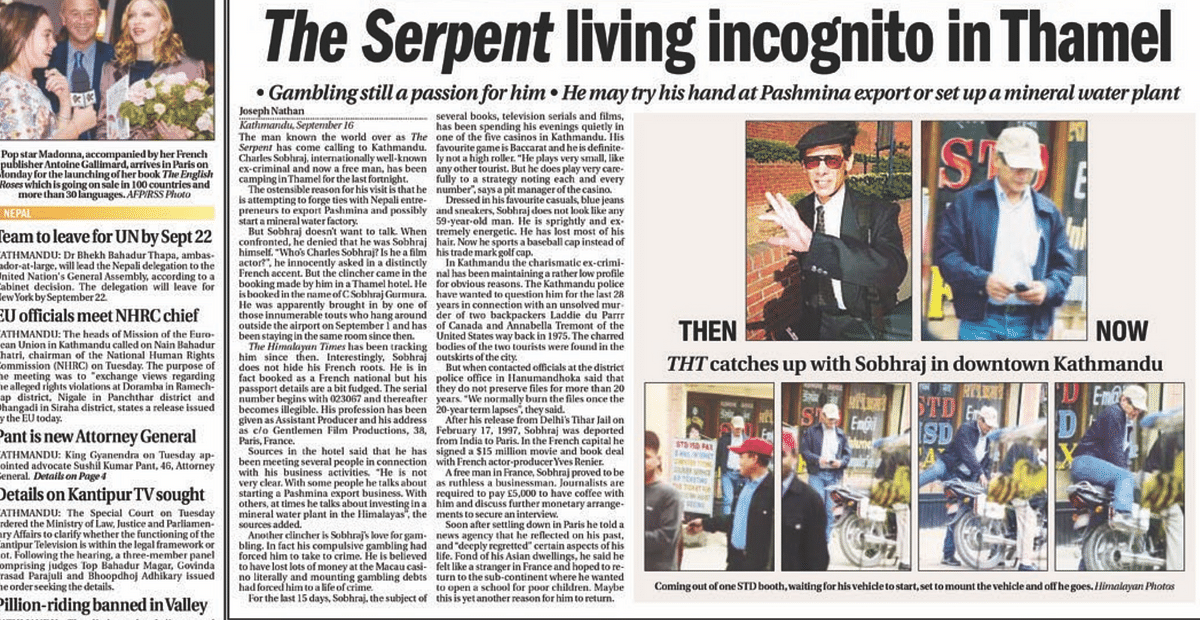 Josepha Nathan's scoop on Charles Sobhraj in The Himalayan Times on 17 September 2003.