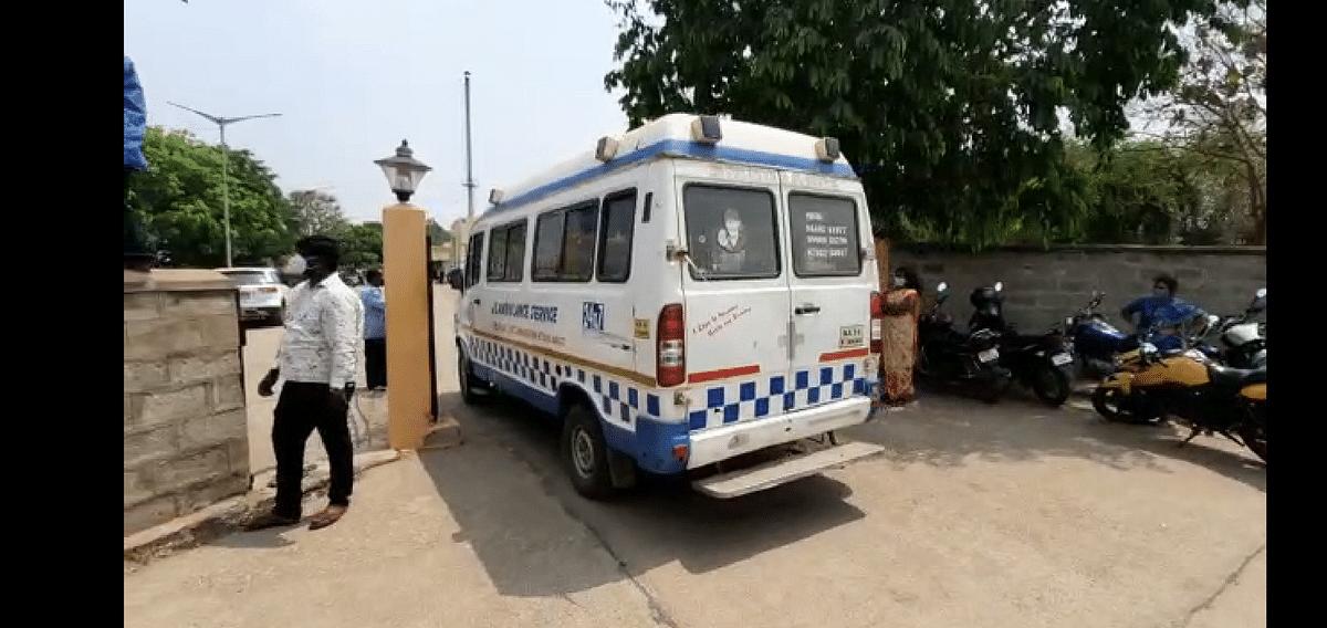 An ambulance leaving a hospital in Karnataka.
