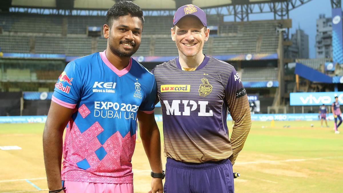 Sanju Samson and Eoin Morgan at the toss.