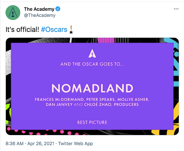 93rd Oscars Live: 'Nomadland' Wins Best Picture Award