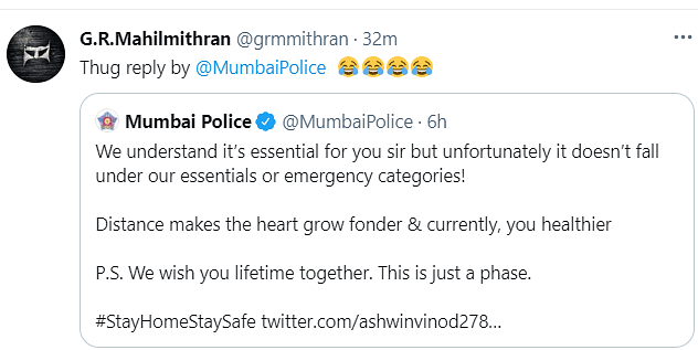 Mumbai Police's Witty Reply to Man Who Asked to Go Out Wins Hearts