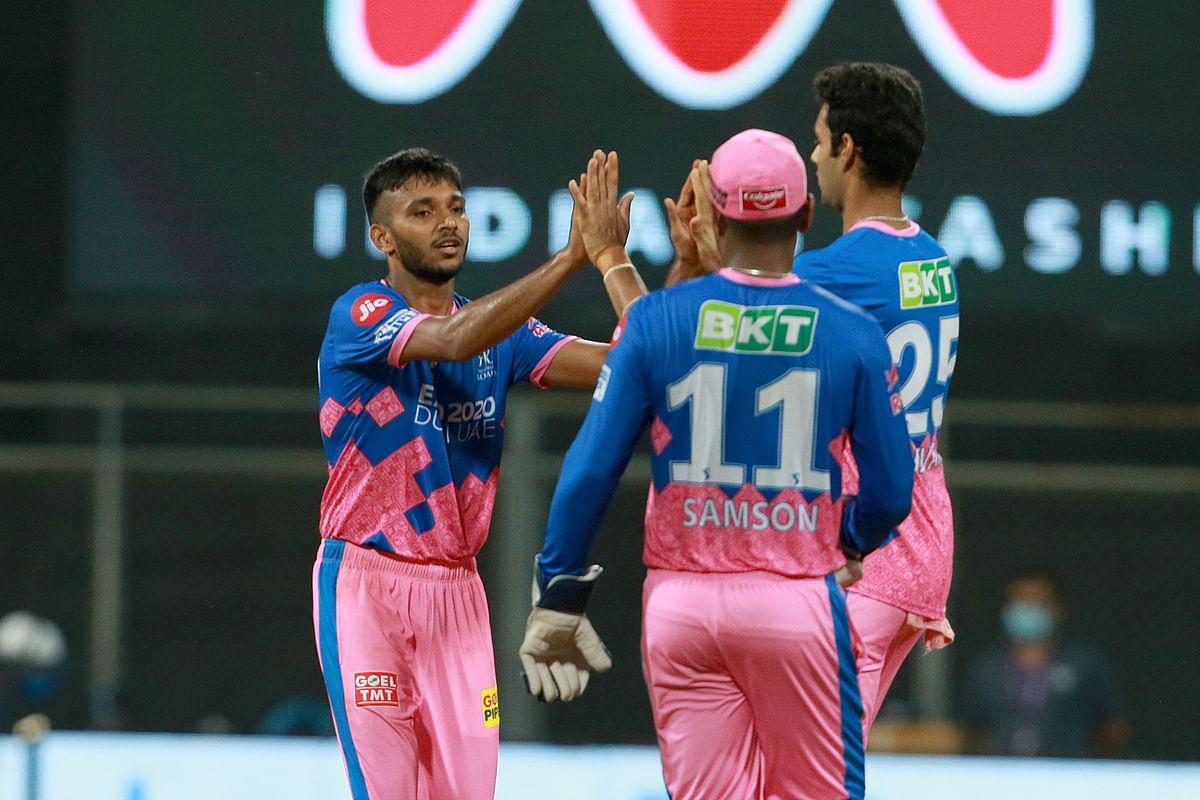 Chetan Sakariya of Rajasthan Royals celebrates after takes a wicket of Moeen Ali of Ambati Rayudu of Chennai Super Kings.