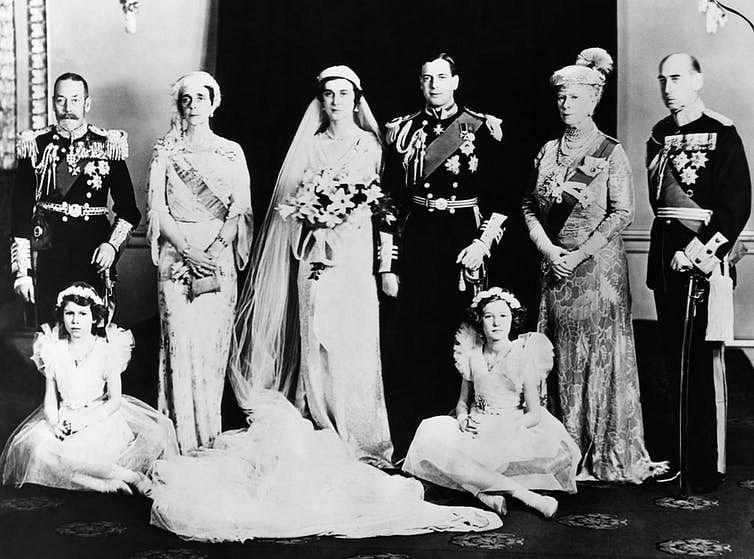 The marriage of Prince George, Duke of Kent to Princess Marina of Greece and Denmark, 1934. Seated at the front are Princess (later Queen) Elizabeth and Lady Mary Cambridge.