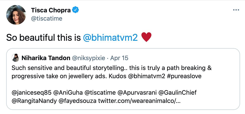 "<div class=""paragraphs""><p>Tisca Chopra reacts to Bhima Jewellery ad on transwoman.</p></div>"
