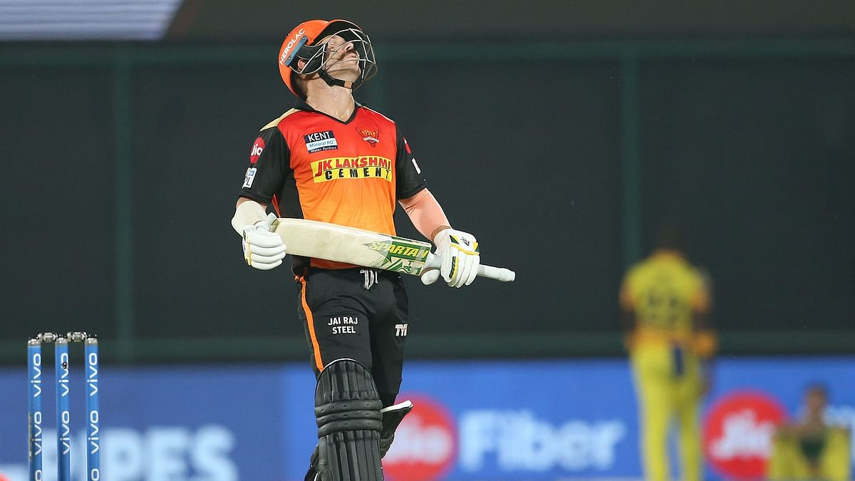 David Warner reacts during his knock against CSK.