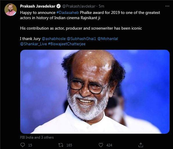 Rajinikanth To Receive 51st Dadasaheb Phalke Award, Says Javadekar