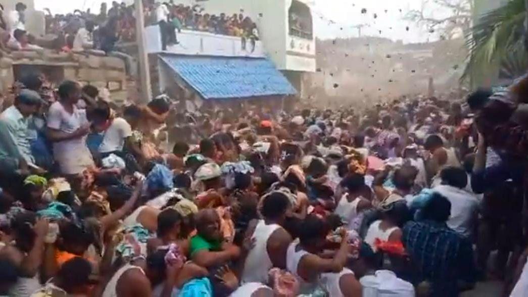 Violating COVID Protocols, Thousands Fling Dung at AP Ugadi Fest