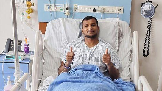 T Natarajan after his knee surgery.
